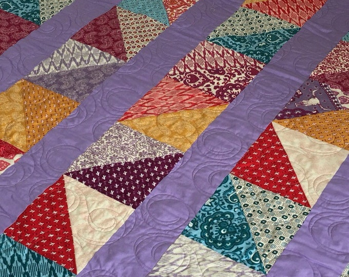 Featured listing image: Mixed Triangle  Quilt  | Modern Quilt