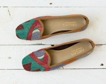 Artemis shoes | Vintage 1990s kilim and leather flats | Vintage ballet flats
