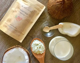 Coconut milk bath soak, milk bath, coconut bath, coconut milk soak, bath soak, Epsom salts, salt bath, coconut soak, coconut bath products,