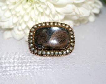 Antique Georgian Seed Pearl Gold Mourning Brooch Lace Pin Hairwork Pendant