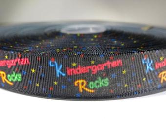"5 yards of 7/8 inch ""Kindergarten rocks"" grosgrain ribbon, by the yard"