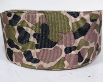 """5 yards of 1.5 inch """"Camouflage"""" grosgrain ribbon"""