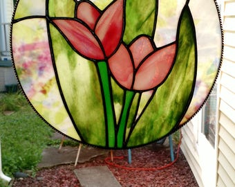 Round Stained Glass Tulip Panel, Tiffany Technique with Black Patina