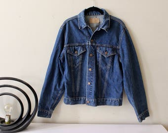 70s Levis Denim Jacket/ Dark Wash Levi's Jacket/ Levi's Big E Jacket/ Levi's Type III/ Red Tab Levi's Jacket/ Women's Large/ Mens Small
