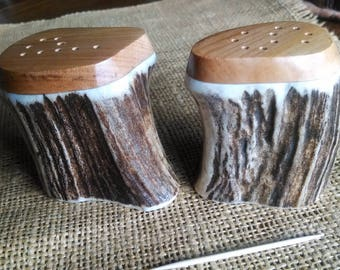Antler Salt and Pepper Set, x-large Elk Antler and Idaho Wild Cherry hardwood, natural color shakers, unique shape, smooth flat tops