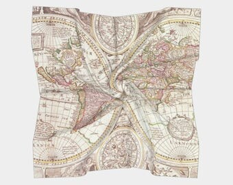 World Map Scarf - antique map print -  map women' s apparel scarf, pocket square, neckerchief, cartography, ancient, beautiful