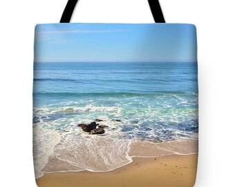 Beach Bag for Beach Bag Season, Beautiful Ocean View, Private Sandy Beach on a Photo Art Print Tote Bag, Poly/Cotton Tote, 18 x 18 Tote Bag