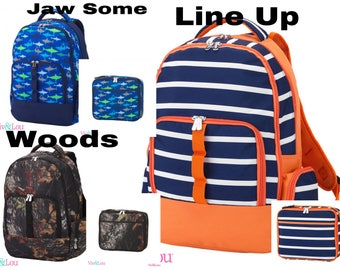 Woods Backpack ~ Jaw Some Backpack ~ Line Up Backpack ~Lunchbox ~ Back 2 School ~ Free Embroidery
