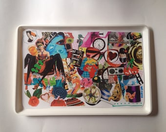 Collage Serving tray/ Pop art, Colorful, Fancy/With an original collage on the surface /Ideal for serving your coffee or tea or home decor