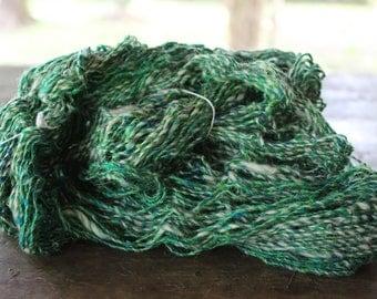 Recycled Sari Silk Yarn + Yak Wool - Green/White