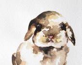 Original Watercolor Painting, Rabbit Portrait, Watercolor Bunny 6x8 Inch