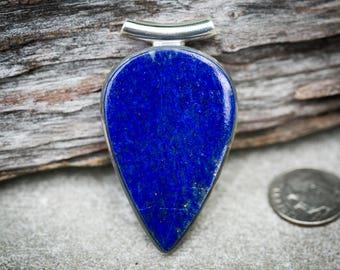 Lapis Pendant Sterling Silver Tube Bale - Gorgeous Lapis Lazuli Pendant - Lapis Jewelry - Sterling Silver Lapis Necklace - Lapis Jewelry