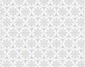 Snowflake Fabric, White with Gray Snowflakes, Christmas Fabric, Winter Material-Quilting, Clothing, Crafts - Cotton Yardage, By The Yard