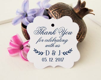 Thank You For Tags, 24 Thank You Wedding Tags, Personalized Favor Tags, Bridal Shower Gift Tags