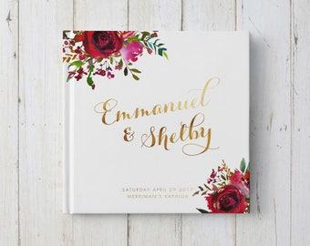 Wedding Guest Book, Rose Wedding, Floral Guest Book, Garden Wedding Decor, Custom Guestbook, GB 147
