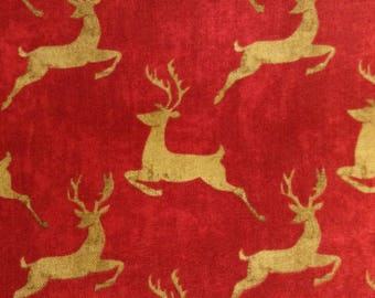 SALE - One Half Yard of Fabric Material - Simply Christmas, Reindeer Fabric, Christmas Fabric