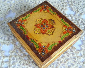 Vintage Handmade Bulgarian Wooden Jewelry Cigarettes Box- antique style and decoration/ 1970/ Unique gift