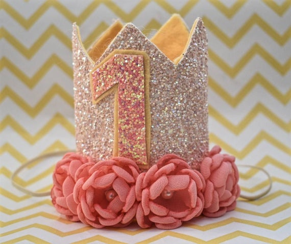 1st birthday peach crown, custom birthday hat, birthday photo prop, baby birthday outfit, peach and coral crown, Princess crown