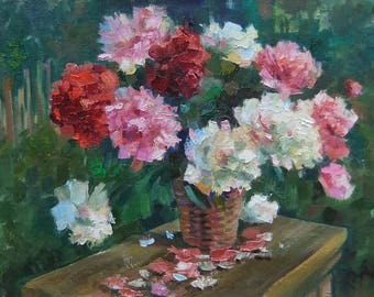 Picture Art Original Oil Painting-Bouquet  Flowers Peonies
