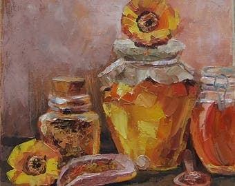 Picture Art Original Oil Painting-Still Life Honey