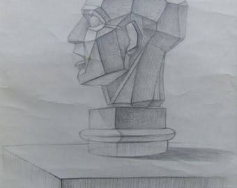 Original Drawing Academical Anatomy  Vintage Pencil  Dark Tone Pictur Gift  Classical Sculpture Cicatrical head