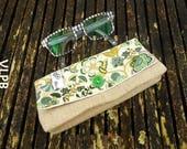 Etui à lunettes lin naturel et Liberty Mabelle vert