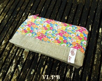 Natural linen and liberty Delilah Cavendish make-up pouch
