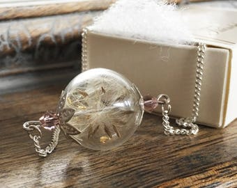 Make a Wish: Real Dandelion Seed Glass Orb / Globe pendant Silver Necklace - Childhood Memories  Bridesmaid gifts, Wedding Jewellery