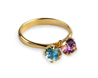 CHARMS Gold Amethyst Ring, Gold Blue Topaz Ring, Dangle Charm Ring, Birthstone Ring, Mothers Ring Birthstones, Gold Gemstones Ring