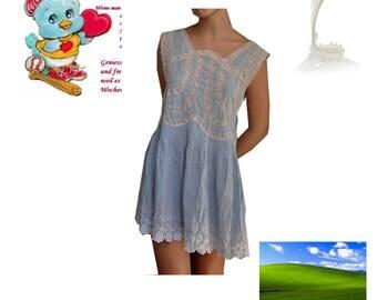 blue lace vintage milkmaid dress harajuku white summer sundress