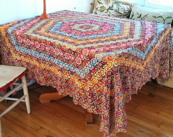 Large Vintage Crocheted Tablecloth, crocheted Rainbow Tablecloth, Cottage Style Tablecloth, Shabby Chic Tablecloth, Cheerful Table Linens