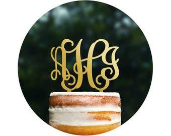 Unique Initial Wedding Cake Toppers, Vine Monogram Topper, Elegant Wedding Cake Decor, Personalized Initial Cake Topper, Anniversary  (T045)