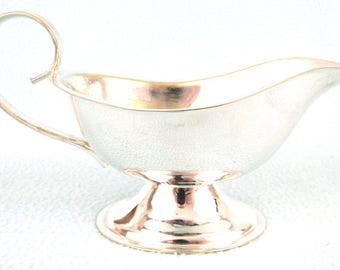 Antique Silver Plated Sauce Boat, Traditional Antique, Georgian Style, Rylands of Sheffield, Pedestal Base, Hotel Ware, Restaurant Ware, Old