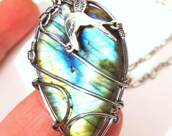 Necklace labradorite bird Wire wrapped pendant
