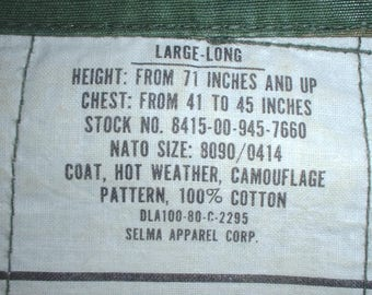 US Army-Marines coat, hot weather, large-long; Selma Apparel 1980; BDU-camo pattern