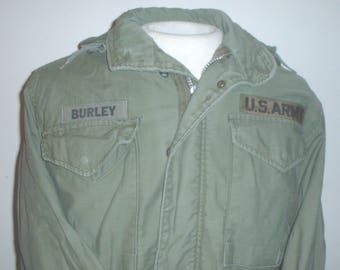 "US Army M-65 field jacket OD, Small-Reg, missing size tag, 40-inch chest, Vietnam War era, ""Burley"""
