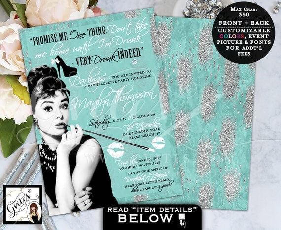Breakfast at Tiffany's Bachelorette Party Invitation, turquoise blue and silver, Audrey Hepburn quote digital invites, 5x7.