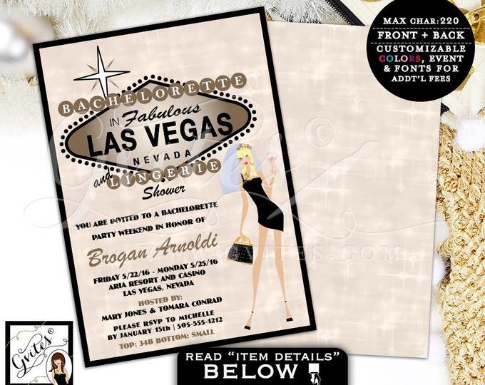 Bachelorette Party Las Vegas party invites lingerie shower wedding, invitations, vegas shower, glitz glam casino theme, 5x7.