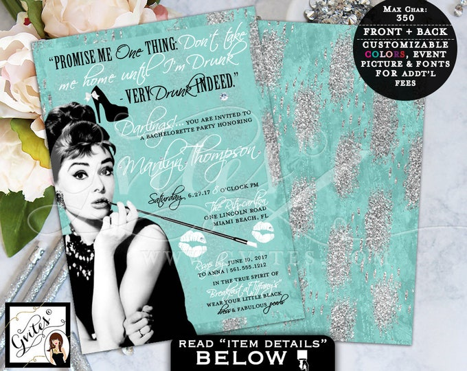 Breakfast at Themed, Bachelorette Party Invitation, turquoise blue and silver, Audrey Hepburn quote digital invites, 5x7, Gvites