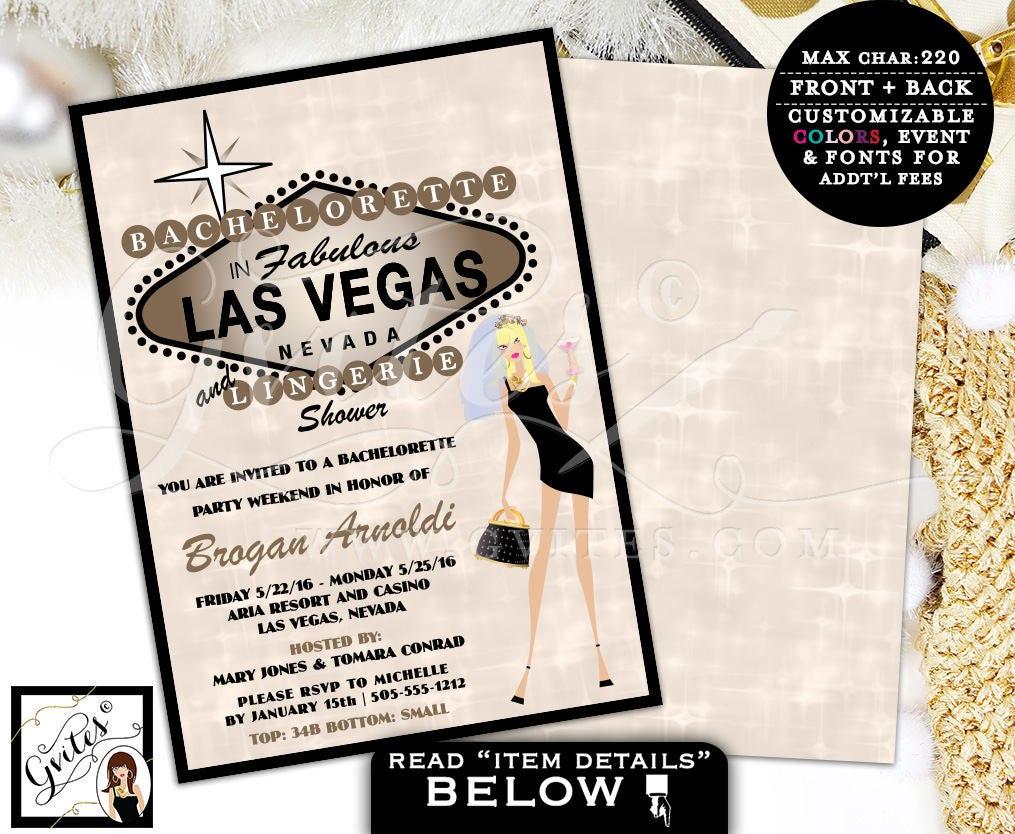 Bachelorette Party Las Vegas party invites lingerie shower wedding ...