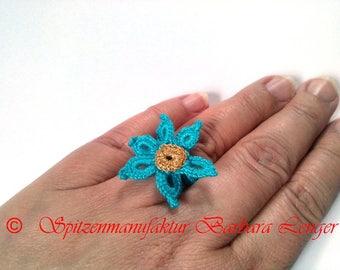 Crochet ring, ring with flower, gift for women