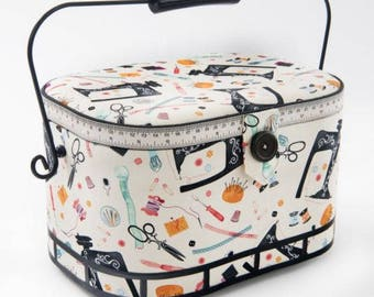 Large Sewing Basket with Metal Handle - Sewing Machine/Sewing Themed