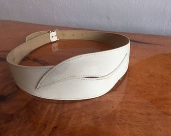 Vintage White Belt Waist Cinch Fashion Circa Back Buckle Geometric Wms 80s SM