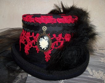 Steampunk Hat, Black and Red Hat, Top Hat, Victorian Riding Hat, Grey Ghost Toppers, Red Lace Hat