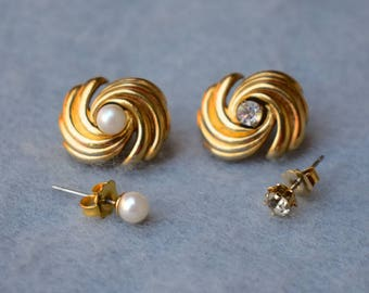 Faux Pearl and Rhinestone Convertible 4 Way Gold Tone Earrings Avon Vintage