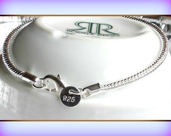 Snake Chain Bracelet, Sterling Silver 925 Snake Chain European Bracelet, Round polished, Silver Bracelet, Great for Pandora Beads, Strong,