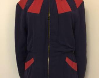 Vintage 50s Navy Red Sport Jacket