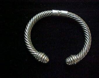 Vintage Silver Braided Style Spring Opening Bracelet-Sharp!#100