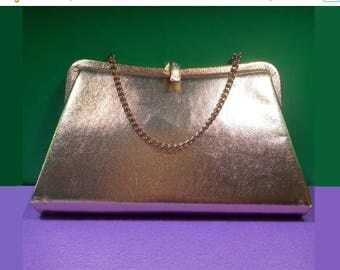 ON SALE Admiral Gold Lamé Chain Strap Evening Bag