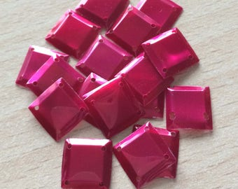 sequin square cabochon color raspberry iridescent nacrolaque